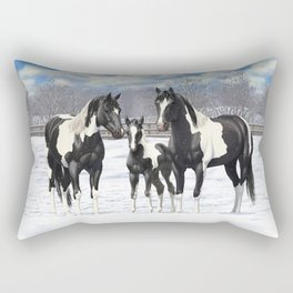 Black Pinto Horse Family Paint Horses In Snow Rectangular Pillow