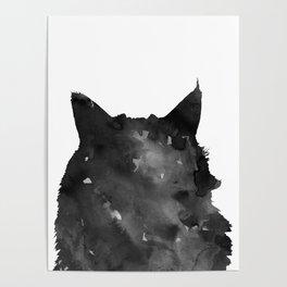 Watercolor Black Cat Poster