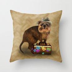 Traveller // quokka Throw Pillow