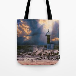 Light House in storm Tote Bag
