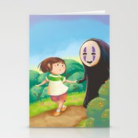 chihiro Stationery Cards featuring Chihiro and No-Face by MTerrenal