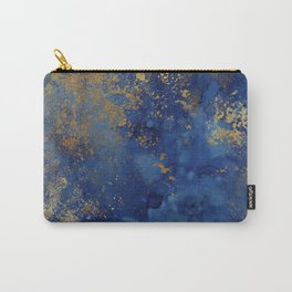Night Blue And Gold Marbled Texture Carry-All Pouch