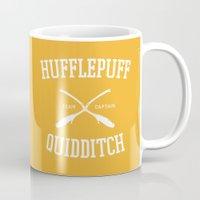 quidditch Mugs featuring Hogwarts Quidditch Team: Hufflepuff by IA Apparel