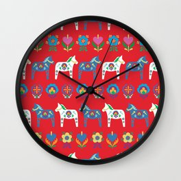 Dala Folk Red Wall Clock