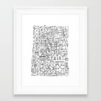 writing Framed Art Prints featuring ALIEN WRITING by Matthew Taylor Wilson