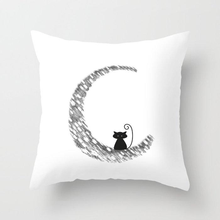 Mooncat Throw Pillow