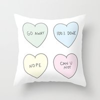sassy Throw Pillows featuring Sassy Hearts by laurenschroer