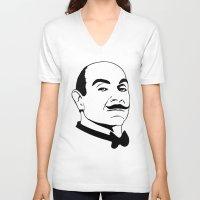 hercules V-neck T-shirts featuring Hercules Poirot. by T-shirtevolution.com