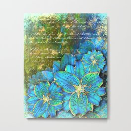 Blue Lilies in the Garden Metal Print