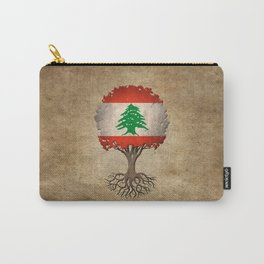 Vintage Tree of Life with Flag of Lebanon Carry-All Pouch