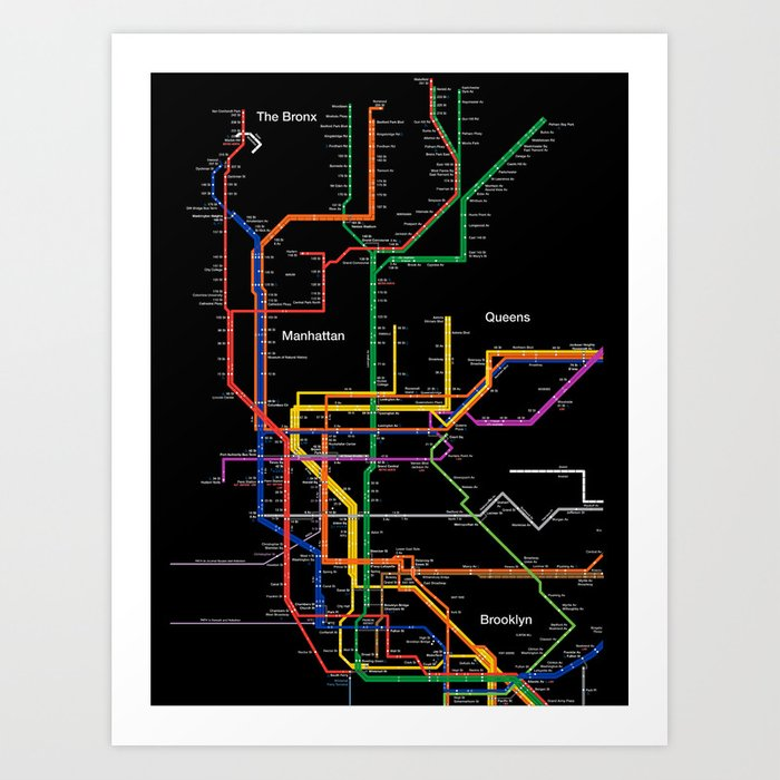 City Subway Map Art.New York City Subway Map Art Print By Igorsin