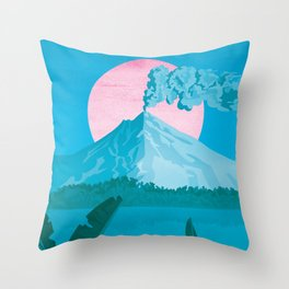 Costa Rica, Volcano Arenal Vintage Travel Poster Throw Pillow