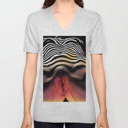 1290s-AK_2753 Striped Nude Vuval Portrait of an Aroused Woman by Chris Maher Unisex V-Neck