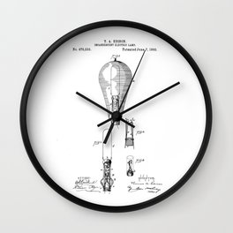 patent art Edison 1892 Incandescent electric lamp Wall Clock
