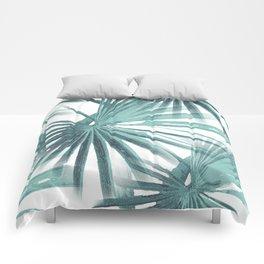 Teal Aqua Tropical Beach Palm Fan Vector Comforters