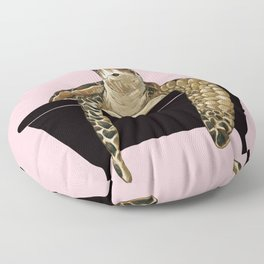 Sea Turtle in Bathtub Pink Floor Pillow