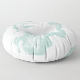 Moki - spilled ink japanese printmaking marble paper mint pastel watercolor painting abstract  Floor Pillow