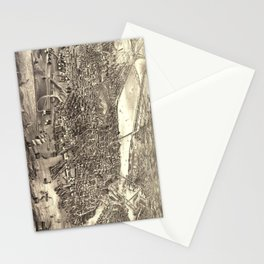 Vintage Pictorial Map of Boston (1880) Stationery Cards