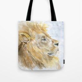 African Lion Watercolor Tote Bag