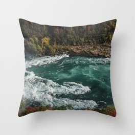 River with Rapids | Autumn Hills | Fall Colours | Landscape Photography Throw Pillow