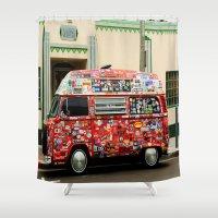 sticker Shower Curtains featuring Surfing Sticker Van by John Lyman Photos