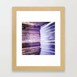 Sun through a fence in winter, Montreal Framed Art Print