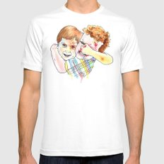 COUSINS. White MEDIUM Mens Fitted Tee
