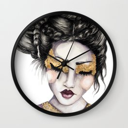 Golden Eyes // Fashion Illustration Wall Clock