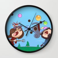 animal crossing Wall Clocks featuring Animal Crossing Grumps by Steven Ray Brown
