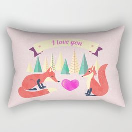 Valentine's Day Foxes in Love Rectangular Pillow