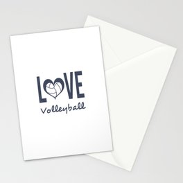 Love Heart Volleyball (blue) Stationery Cards