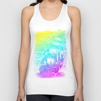 pirate ship Tank Tops featuring Caleuche Ghost Pirate Ship - Color by Roberto Jaras Lira