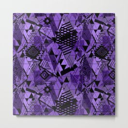 Abstract ethnic pattern in black, purple colors. Metal Print