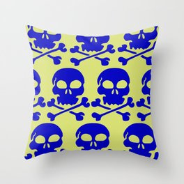 Skull Crazy- blue on green Throw Pillow
