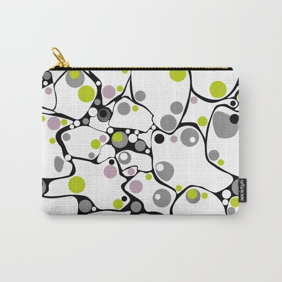 Abstract black and white pattern in green and purple polka dots . Carry-All Pouch