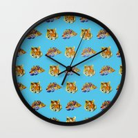 tigers Wall Clocks featuring Tigers by Nahal