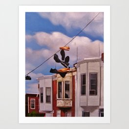 shoes up there Art Print
