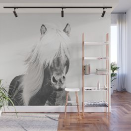 BW Horse, Horse Art, Black and White, Nordic Horse, Horse Print, Boho Decor, Horse Photo Wall Mural