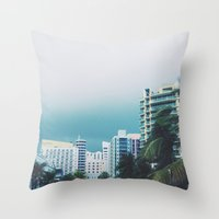 miami Throw Pillows featuring Miami  by Anna Zurowska