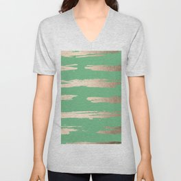 Abstract Paint Stripes Gold Tropical Green Unisex V-Neck