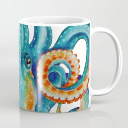 Octopus Teal Watercolor Ink Coffee Mug