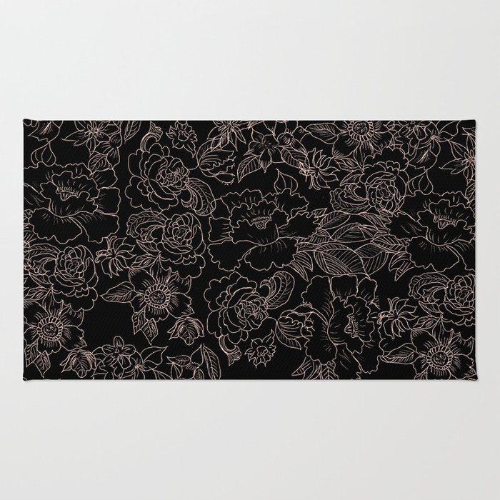 Pink coral tan black floral illustration pattern Rug