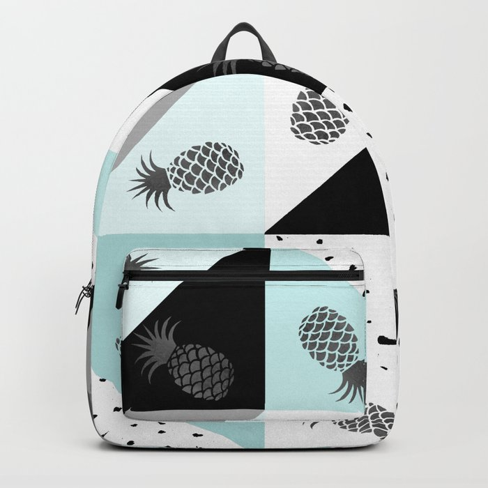f3523454a9 Teal black white dots pineapple geometrical color block Backpack by ...