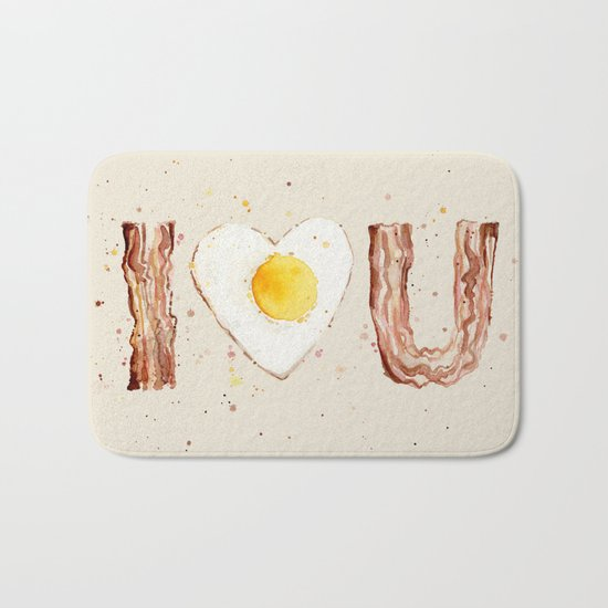 Bacon and Egg I love You Breakfast Food I heart Bath Mat