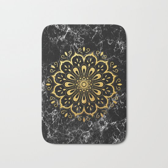 Gold mandala on black marble Bath Mat