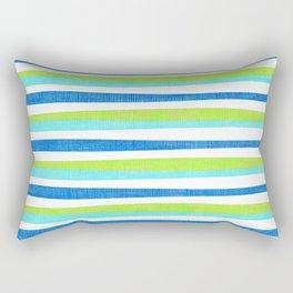Aqua Turquoise Lime Green Summer Stripes Pattern Rectangular Pillow