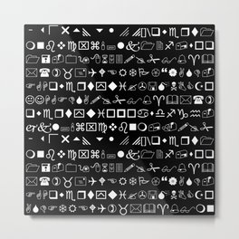 Wingdings Symbols Black Background White Font Metal Print