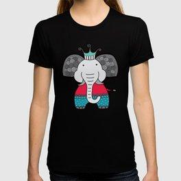 Doodle Elephant on Blue Background T-shirt