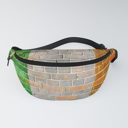 Ireland flag on a brick wall Fanny Pack