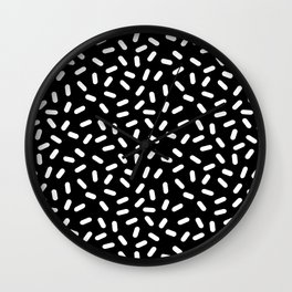 Bingo - black and white sprinkle retro modern pattern print monochromatic trendy hipster 80s style Wall Clock